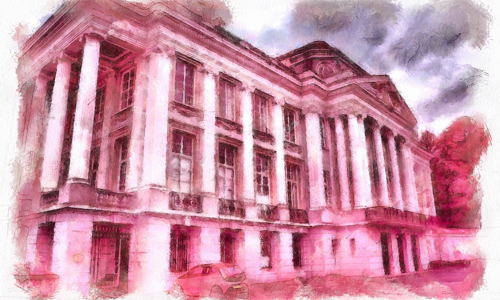 Drawing of Oldway Mansion in Paignton, Devon