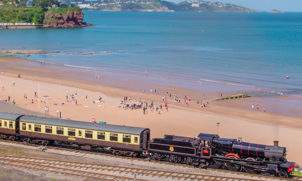 Steam train going past at Goodrington in Paignton, Devon