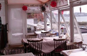 Afternoon tea with a view of the Bay from Victory, tea rooms, Torbay Sands Hotel, Paignton, Devon