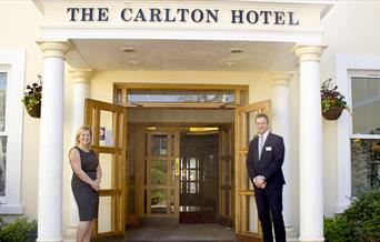The Carlton Hotel entrance in Torquay, Devon