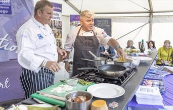 Live cooking demo at Fishstock 2018, Brixham