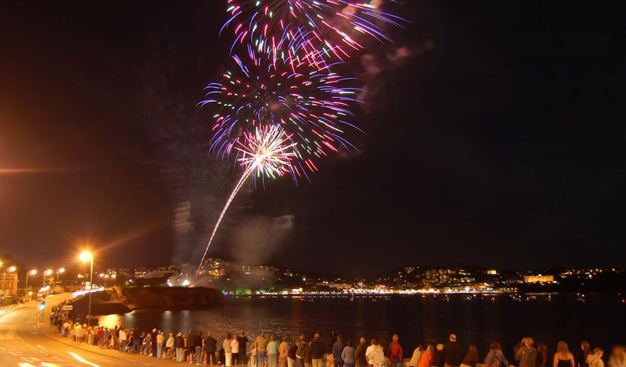 Fireworks on Torquay seafront in Devon