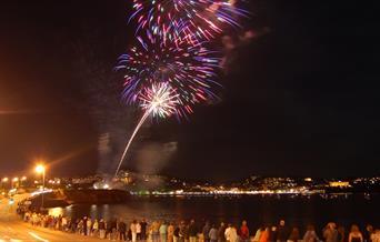 Fireworks on Torquay seafront in Devon