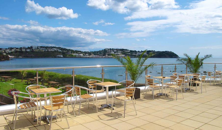 Seating with a view at Livermead Cliff Hotel, Torquay, Devon