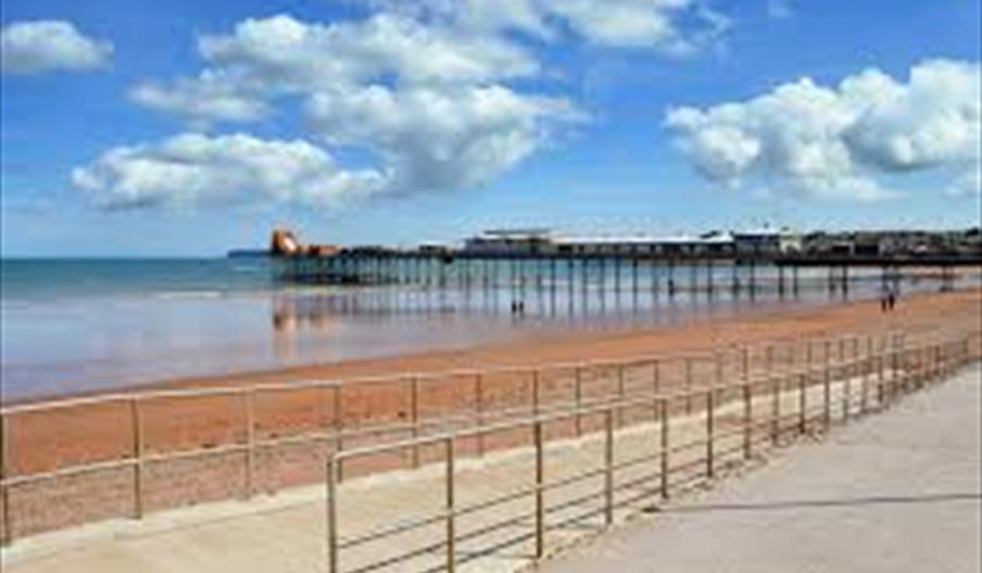 View of Paignton Pier, Paignton Sands, Paignton, Devon