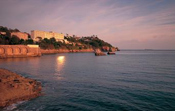 View of The Imperial Torquay as the sunsets over the English Riviera
