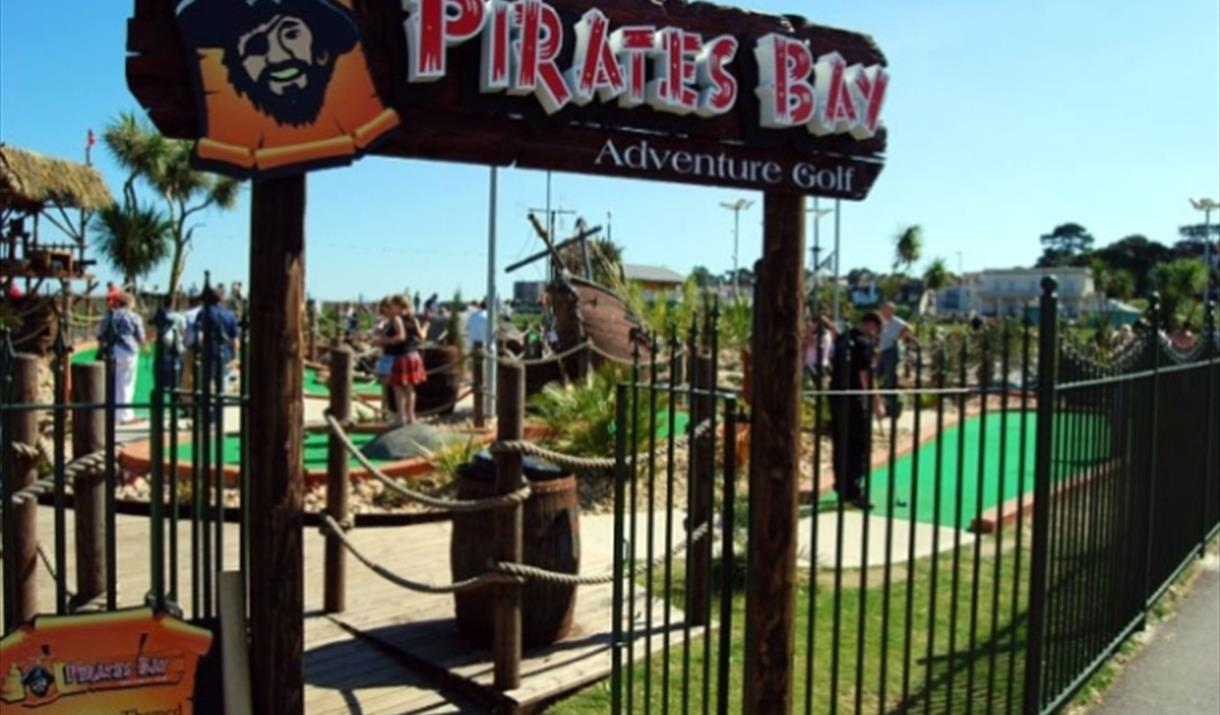 Pirates Bay adventure golf entrance in Paignton, Devon