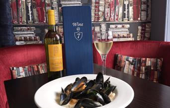 Mussels and Sharpham wine at Number 7
