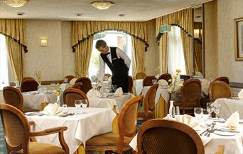 Our waiter at the Livermead Cliff Hotel, Torquay, Devon